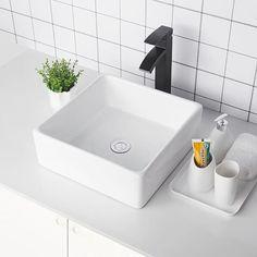 Vessel Faucets, Vessel Sink Bathroom, Porcelain Ceramics, White Ceramics, Ceramic Sink, Ceramic Art, Square Sink, White Porcelain, Basin