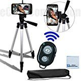 "50"" Inch Aluminum Camera Tripod + Universal Tripod Smartphone Mount + Bluetooth Wireless Remote Control Camera Shutter For LG G3, LG G FLEX 2, LG G FLEX, LG G2, LG NEXUS 5, Motorola Nexus 6, Motorola Droid Turbo, Motorola Moto G, Motorola Moto X (2nd Generation), Motorola Moto X Pro, Motorola Moto G"