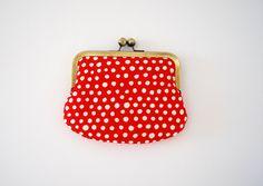 red polka dot kisslock wallet / coin purse by PikulaBags