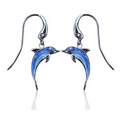 Guy Harvey Enameled Porpoise Earrings Crafted in Sterling Silver ** Learn more by visiting the image link.