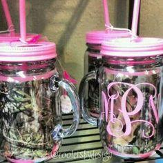 Pink Camouflage mason jars