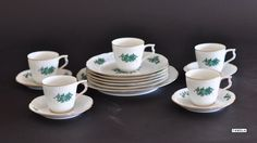 Rosenthal Classic Rose Collection Kaffeeservice Geschirr Porzellan weiß grün rar