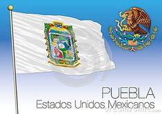 PUEBLA regional flag, United Mexican States, Mexico, vector illustration