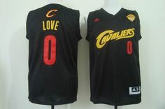 Cleveland Cavaliers #0 Kevin Love Black(Red No.) Fashion Jersey 2015 NBA Finals Patch