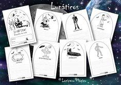 LAPICERO MÁGICO: Lunáticos: Descripciones de miedo Halloween, Spanish, Texts, Children's Literature, Craft, Describing Characters, Text Types, Graphic Organizers, Halloween Stuff