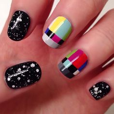 """iheartnails-blog: """"TV nails with test patterns and static. I've seen this done before but I thought I'd give it a try!  """""""