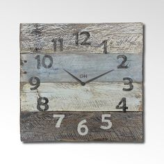 Rustic Wall Clock From Reclaimed Pallets -  Furniture Lines Include Coastal Theme Beach Decor in Grey and White