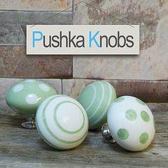 Green Modern Ceramic Cupboard Knobs - door knobs & handles