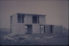 Architectural Teaching Slide Collection - St. Jean prefab. tract, Quebec, Canada, 1961? - Exterior photograph of a house, prefabricated housing tract, Saint-Jean, Quebec, Canada, 1961? Designed by Pierre Koenig.