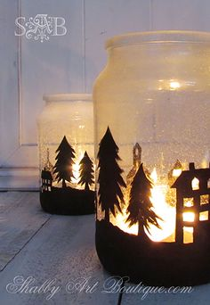 Snowy Town Candle