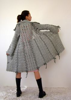 Candy crochet bow coat in grey with polymer clay buttons. I love this!