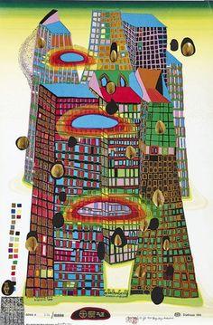 """Hundertwasser, Friedensreich""""Good Morning City - Bleeding Town""""(Wien 1928-2000 an Bord der Queen Eli — Graphik"""