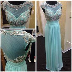 Backless Prom Dresses,Light Blue Prom Dress,Open Backs Prom Gown,Open Back Prom Dresses,Chiffion Evening Gowns,2016 Open Backs Evening Gown