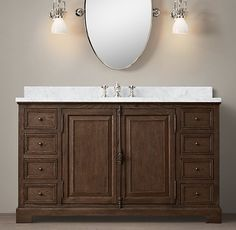 French Casement Extra-Wide Single Vanity Sink 55.5 wide with top.  2549/2449.  Base: 1499/1409  White distressed/Brown Oak