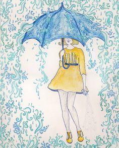 umbrella art - ☂ Singin' in the Rain ☂ Art And Illustration, Illustrations, Umbrella Art, Under My Umbrella, Blue Umbrella, Singing In The Rain, Art Plastique, Rainy Days, Art Projects