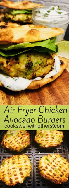 Air Fryer Chicken Avocado Burgers are a healthy burger option, super easy and not to mention insanely delicious, also served with a Cilantro Lime Aioli! Chicken Sauce Recipes, Ground Chicken Recipes, Healthy Chicken Recipes, Vegan Recipes Easy, Healthy Dinner Recipes, Ninja Recipes, Healthy Lunches, Paleo Dinner, Keto Chicken