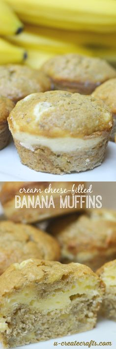 chinese dessert recipes, very easy dessert recipes, filo dough dessert recipes - Cream Cheese-Filled Banana Muffins by U Create Banana Recipes, Muffin Recipes, Meat Recipes, Breakfast Recipes, Dessert Recipes, Cooking Recipes, Cooking Icon, Thai Cooking, Cooking Chef