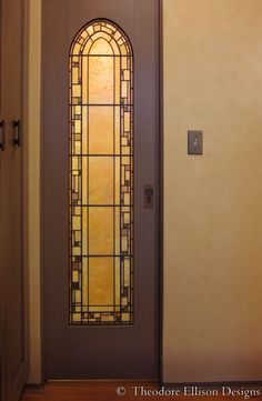 custom leaded glass panel for pocket door by theodore ellison designs