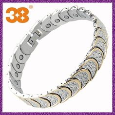 Moon-shaped magnetic bracelet with zircon  1 13 years experience  2 free your logo  3 factory price  4 SGS CTI
