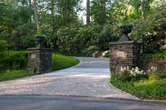see partial brick entrance driveway. tTraditional Driveway Landscaping Design, Pictures, Remodel, Decor and Ideas Driveway Entrance Landscaping, Brick Driveway, Driveway Design, Driveway Gate, Garden Landscaping, Driveway Apron, Landscaping Ideas, Fence, Driveway Repair