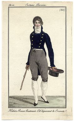 1800s French gentleman's outfit with stock. plate. 355
