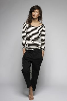 stripes and loose black trousers