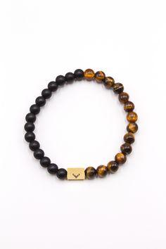 Men's Beaded Bracelet Black Matte Onyx & Brown Tiger Eye 8mm