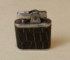 Genuine Leather Covered Cigarette Lighter - Vintage (Crocodile Skin?)
