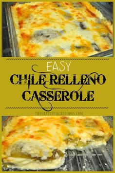 Easy Chile Relleno Casserole - The Grateful Girl Cooks! This scrumptious chile relleno casserole is easy to make, is vegetarian, and has all the Southwest flavors of the traditional dish, but it is is baked, not fried! Authentic Mexican Recipes, Easy Mexican Food Recipes, Easy Mexican Dishes, Easy Recipes, Vegetarian Recipes, Recipes Dinner, Delicious Recipes, Mexican Potluck, Healthy Recipes