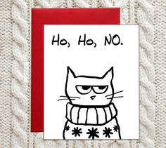 Great Christmas cards - Angry Cat and the Christmas Sweater - funny cards for cat lovers.