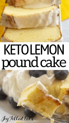 Keto Lemon Pound Cake is the delicious moist dessert you have been waiting for. Zesty lemon is the star in the cake as well as in the decadent lemon glaze. Low Sugar Recipes, Sugar Free Desserts, Lemon Desserts, Diabetic Desserts, Low Carb Desserts, Diabetic Recipes, Keto Recipes, Low Sugar Cakes, Lemon Blueberry Pound Cake