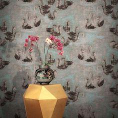 Feathr Swan Lake Wallpaper Teal by HKK | 011001340401 | £119.00