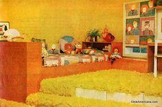 Vintage decor ad from Aug 1976.  Yellow shag carpet!!  clickamericana.com