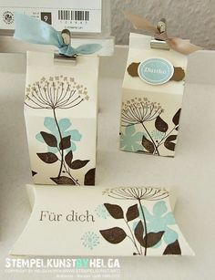 I love the use of simply Stampin' Up! very vanilla cardstock. This would work with a variety of Stampin' Up!always love ideas for the milk carton die - pretty. Pillow Box, Diy Gifts, Handmade Gifts, Pretty Packaging, Flower Cards, Craft Fairs, Stampin Up Cards, Cardmaking, Scrapbooking
