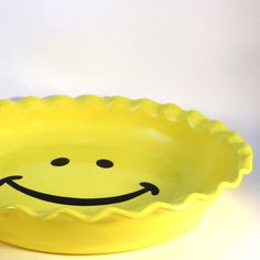 Smiley Face Pie Plate - Happy Face Pie Plate - Ceramic Pie Dish - Deep Dish…