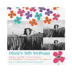 Fun Daisy Pop Photo Birthday Invite