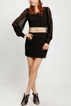 scoop-neck-long-sleeve-chiffon-dress.jpg (423×635)