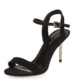 Black Ankle Strap Metal Sole Heels
