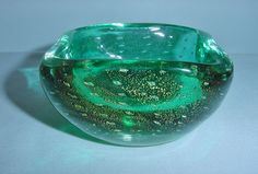 SMALL Awesome MURANO Glass BOWL Bubbles GOLD DUST Marvelous MODERN Mid Century   #AttributedtoVenini #MidCenturyModern