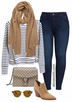Straight Size to Plus Size - Striped Pullover for fall and winter with Cashmere Scarf and Tan Ankle Booties with Jeans - Alexa Webb #plussize #alexawebb