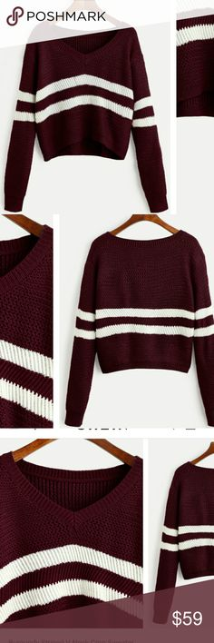 🆕🌿🌱STRIPED CROP SWEATER RED STRIPED V NECK CROP SWEATER. MODEL IS WEARING ACTUAL COLOR! ONE SIZE: XS-L Sweaters