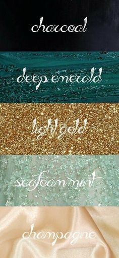 Charcoal Emerald Gold Seafoam Mint Champagne 2020 - wedding colorado wedding colors wedding colors and themes wedding . Trendy Wedding, Dream Wedding, Wedding Day, Colour Schemes, Wedding Color Schemes, Wedding Colors Teal, Champagne Wedding Colors Scheme, Teal Gold Wedding, Wedding Colour Palettes