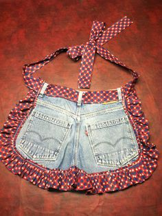 You could easily make a full one with a pair of overalls.   Upcycled Jean HalfAprons by Proverbs31Place on Etsy, $25.00