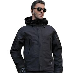 9d8f91a92 Military Tactical Technical Lightweight Winter Jacket For Men Weatherproof  Breathable Hooded - in Black, Army