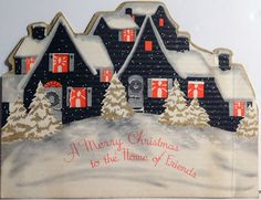 30s Art Deco Houses Vintage Die Cut Christmas Card 703 | eBay