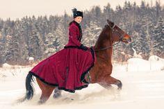 Russian Huntress winter, retro, russian, snow, horse, riding, horseback, huntress