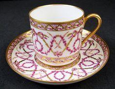 Beautiful Antique Sevres Demitasse Cup & Saucer