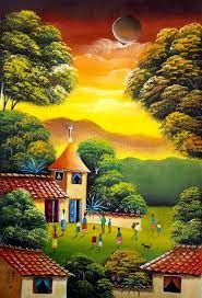 pinturas costumbristas Famosas - Búsqueda de Google Landscape Art, Landscape Paintings, Mexican Artwork, South American Art, Cuban Art, Caribbean Art, Country Landscaping, Fantasy Paintings, Naive Art