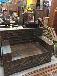 Storage Benches, Bench With Storage, Antique Bench, Houzz, Teak, Liquor Cabinet, Hand Carved, Carving, Iron