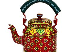 Rajasthani Tea Kettle - RedEnjoy the colourful world of the Rajasthan people from India, with this rare tea kettle on your table!  Have you ever experienced pure happiness every time you pour yourself a cup of tea? This beautifully decorated red tea kettle does that!  This tea kettle is embossed and painted in Rajasthany style. It's made of aluminium and therefore heat resistant. The colourful and flowery finishing was done with one hairbrush. This tea kettle is not only unique because of…